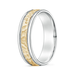 Milgrain Hammered Wedding Band in White and Yellow Gold