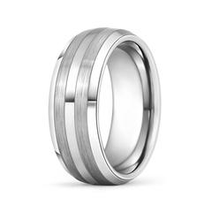 Comfort Fit Tungsten Carbide Men's Beveled Wedding Band