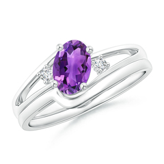 Split Shank Amethyst Engagement Ring with Wedding Band