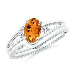 Split Shank Citrine Engagement Ring with Wedding Band