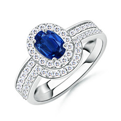 Sapphire Bridal Ring Set with Diamond Halo