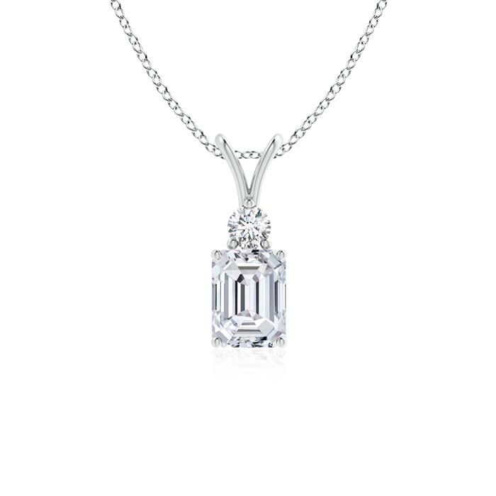 Solitaire Emerald Cut Diamond V-Bale Pendant - Angara.com
