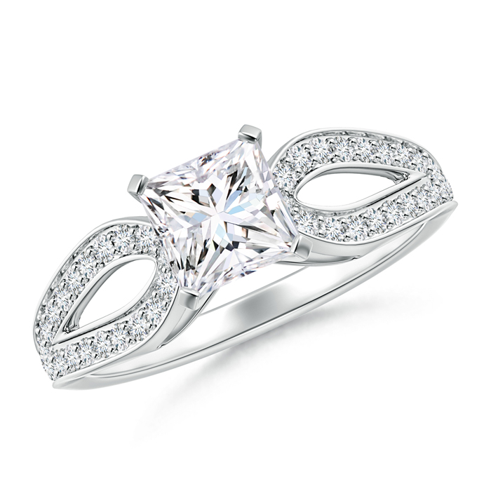 Solitaire Princess Diamond Studded Loop Shoulder Ring - Angara.com