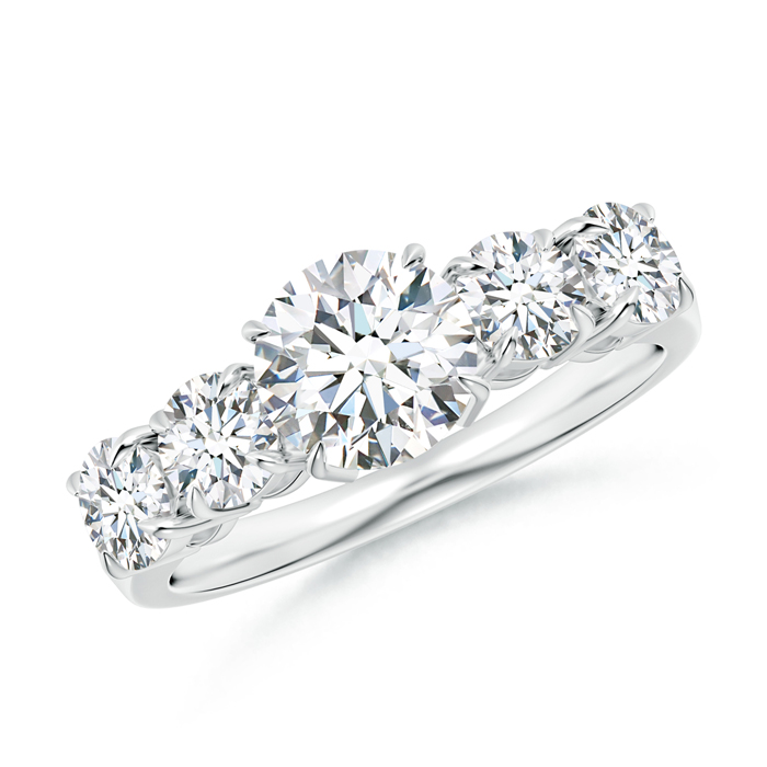 Claw Set Round Five Stone Diamond Engagement Ring - Angara.com