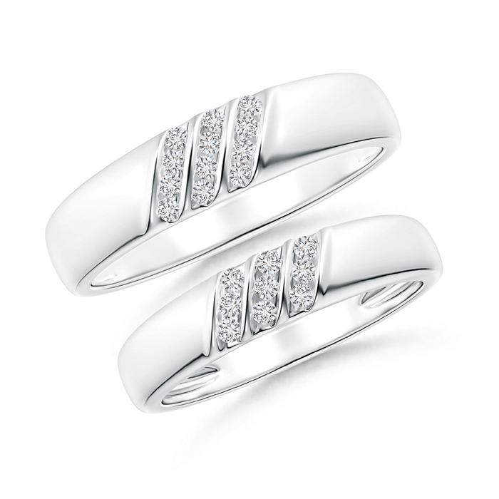 Triple Grooved Diagonal Diamond Couple Band Set - Angara.com