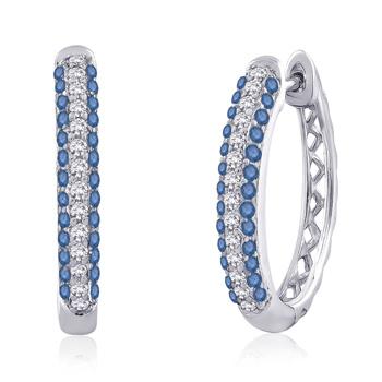 Pave Enhanced Blue and White Diamond Hoop Earrings White Gold - Angara.com