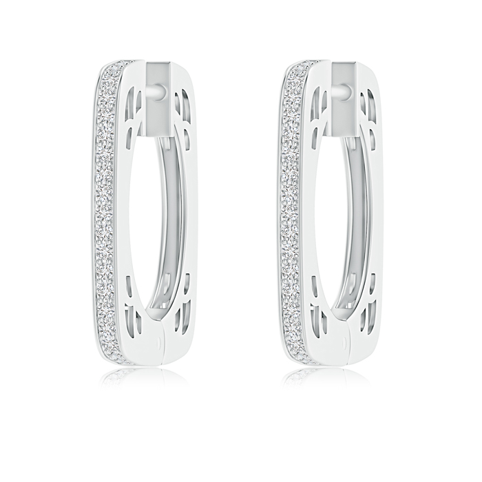 Pave-Set Diamond Square Hoop Earrings - Angara.com