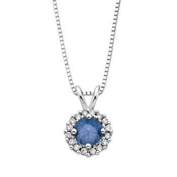 Round Enhanced Blue Diamond Halo Pendant in White Gold - Angara.com