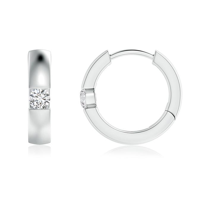 Channel-Set Round Diamond Hinged Hoop Earrings