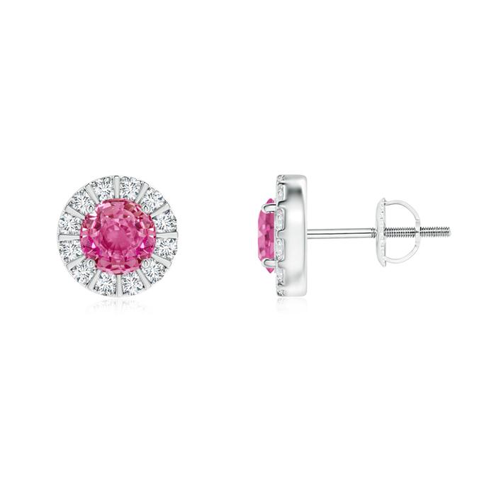 Pink Sapphire Stud Earrings with Bar-Set Diamond Halo - Angara.com