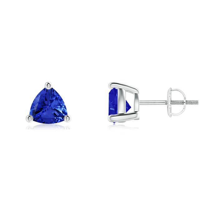 Basket-Set Trillion Tanzanite Stud Earrings - Angara.com