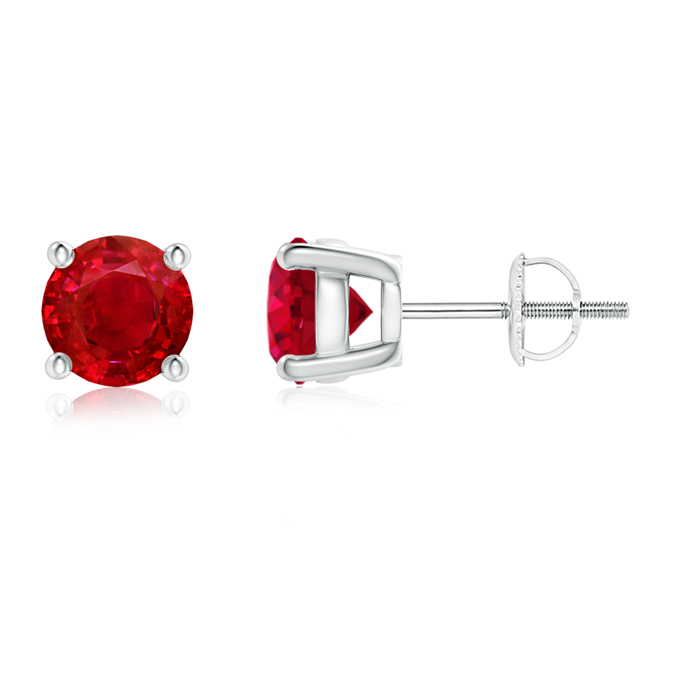 Round Ruby Stud Earrings - Angara.com