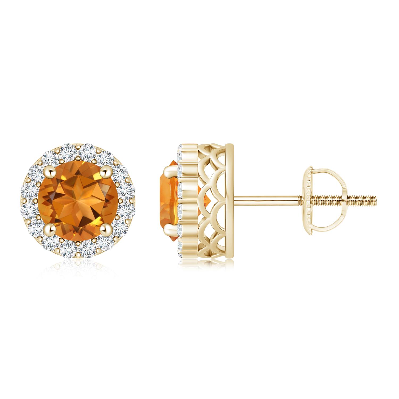 Round Citrine and Diamond Halo Stud Earrings - Angara.com