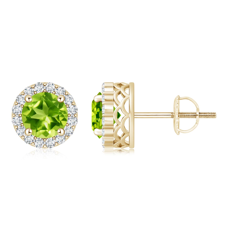 Round Peridot and Diamond Halo Stud Earrings - Angara.com