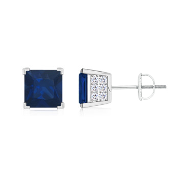 Square Blue Sapphire Stud Earrings with Diamond Accents - Angara.com