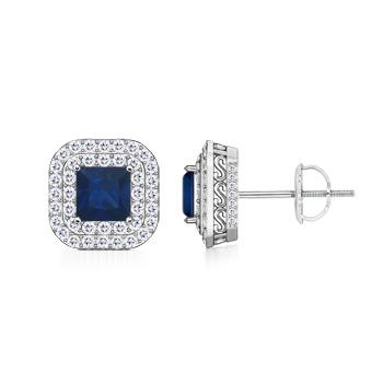 Vintage Double Halo Square Sapphire Stud Earrings - Angara.com