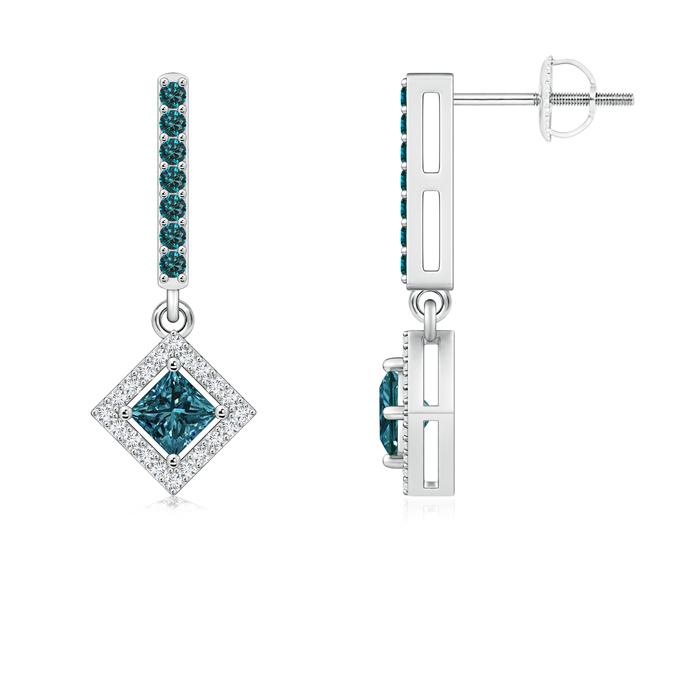 Floating Princess-Cut Enhanced Blue Diamond Dangle Earrings - Angara.com