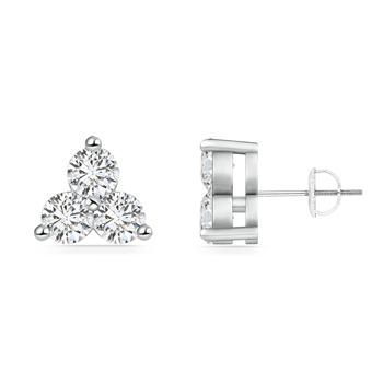 Round Diamond Three Stone Stud Earrings - Angara.com