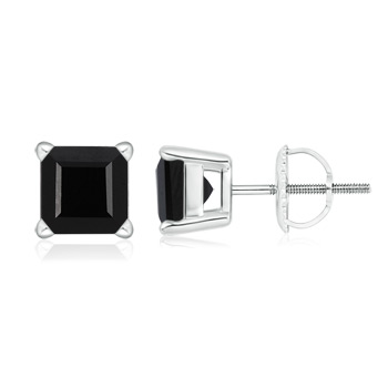 Basket-Set Square Black Onyx Stud Earrings - Angara.com