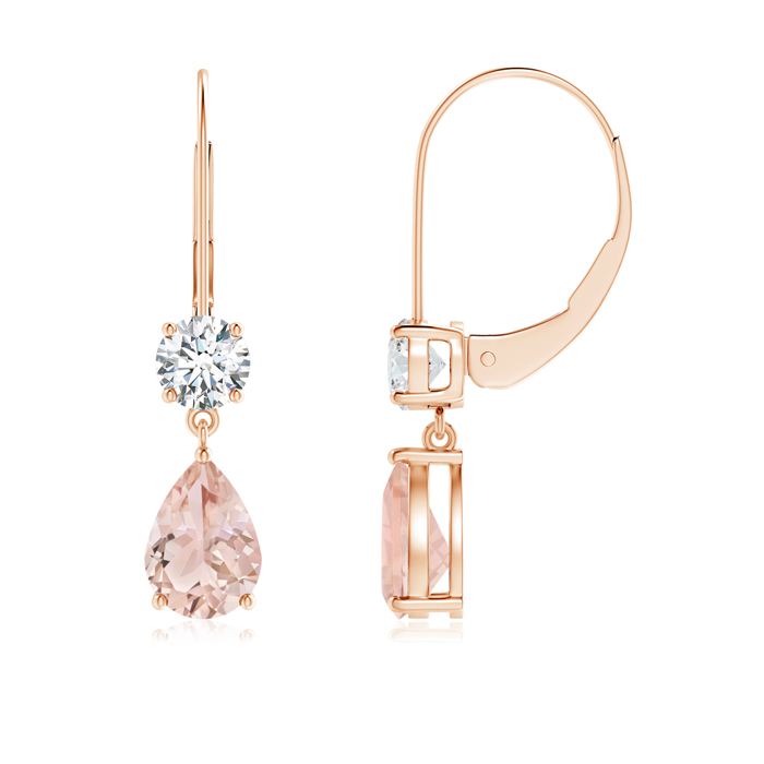 Pear Morganite Leverback Drop Earrings with Diamond - Angara.com