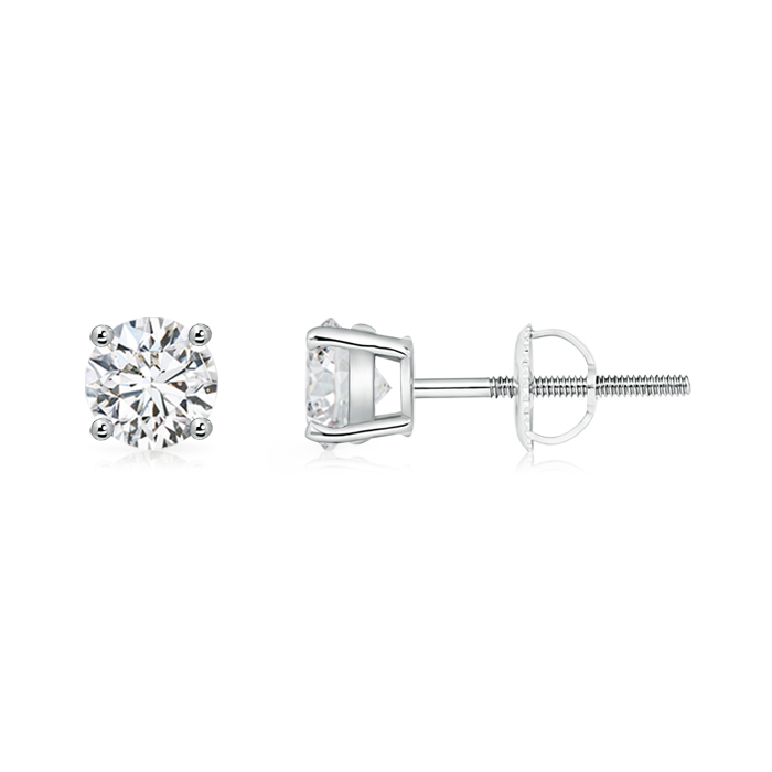 Basket-Set Solitaire Diamond Stud Earrings
