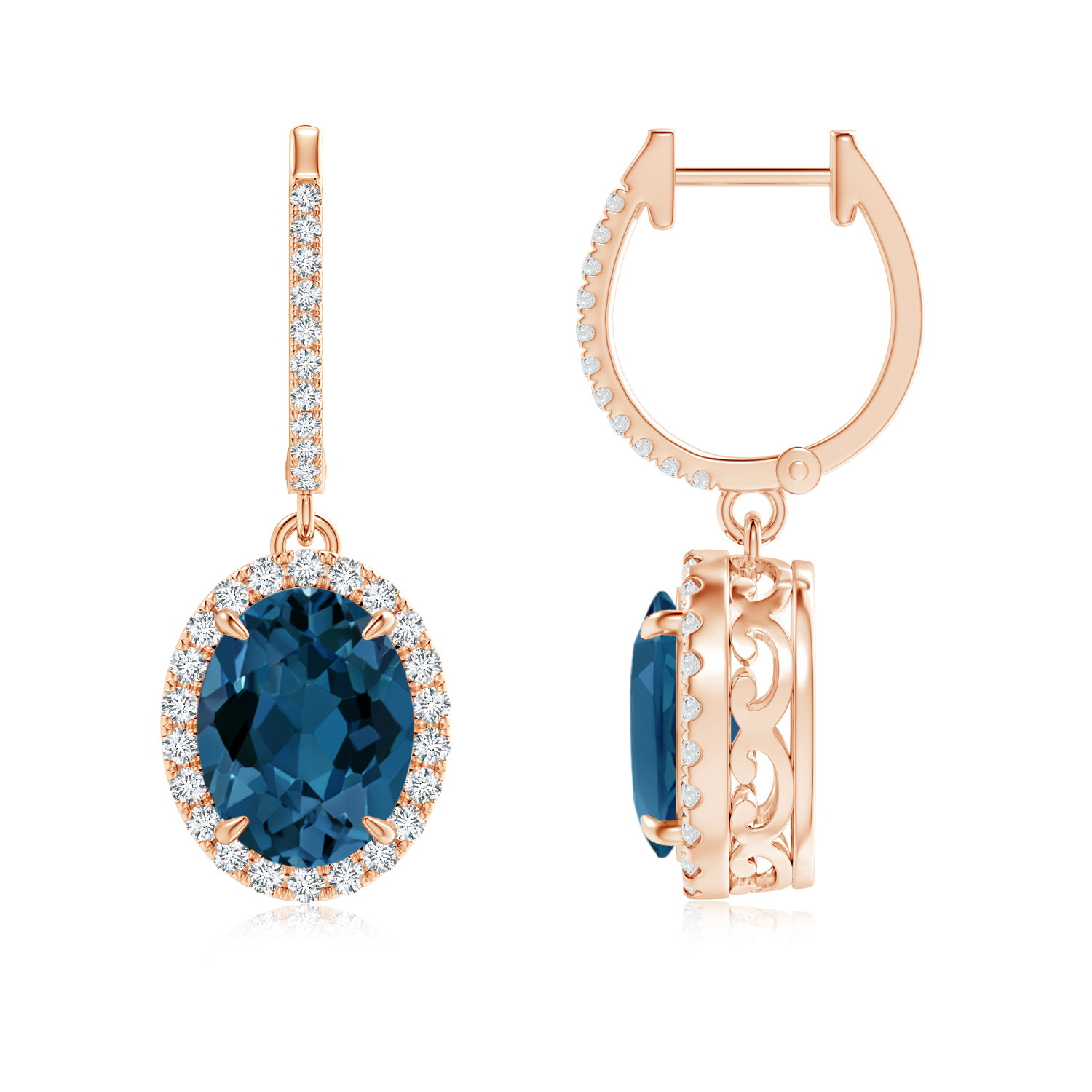 Oval London Blue Topaz Dangle Earrings with Diamonds - Angara.com