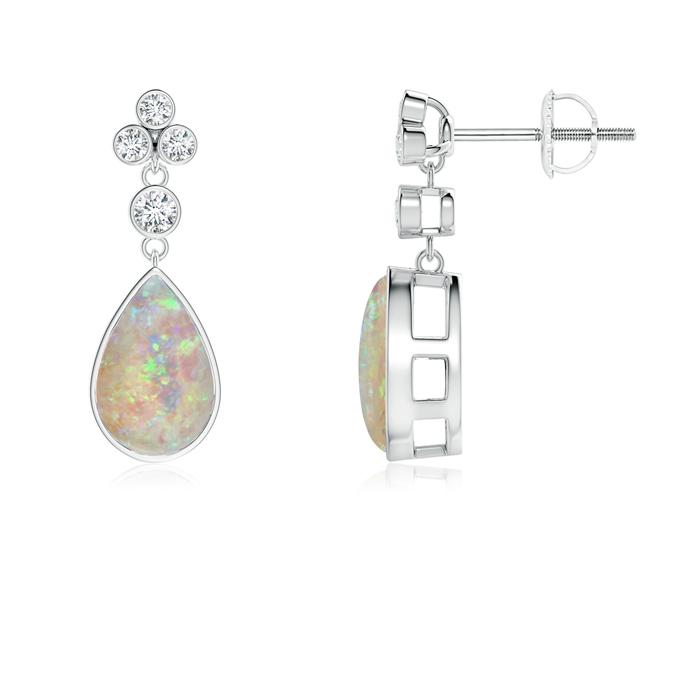 Bezel-Set Cabochon Opal Teardrop Earrings with Diamonds - Angara.com
