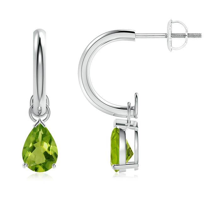 Pear-Shaped Peridot Drop Earrings with Screw Back - Angara.com