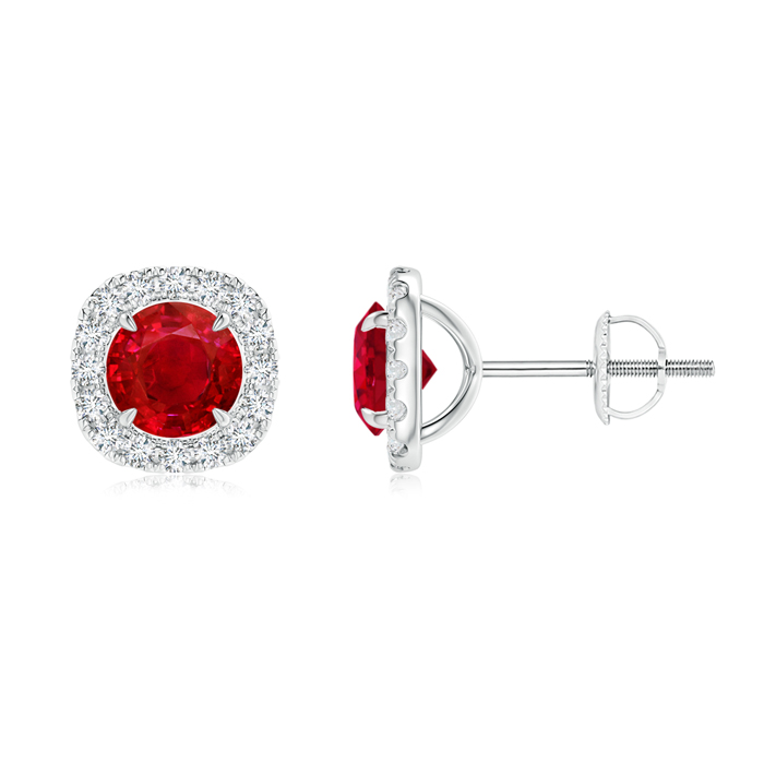 Vintage Style Ruby and Diamond Halo Stud Earrings - Angara.com