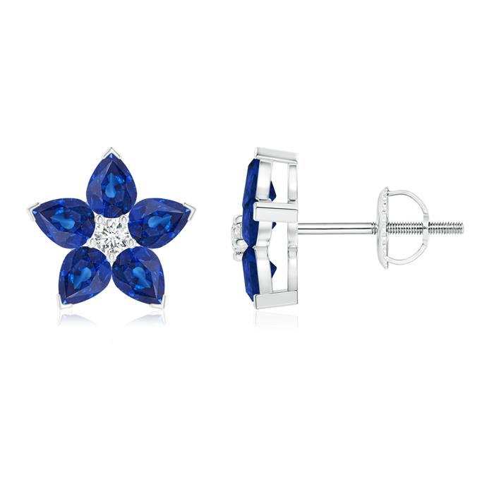 V-Prong Set Diamond and Sapphire Flower Stud Earrings - Angara.com