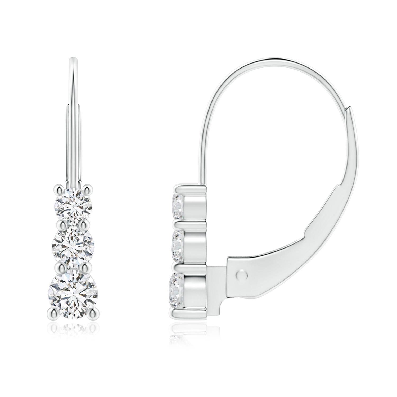 3 Stone Round Diamond Leverback Earrings