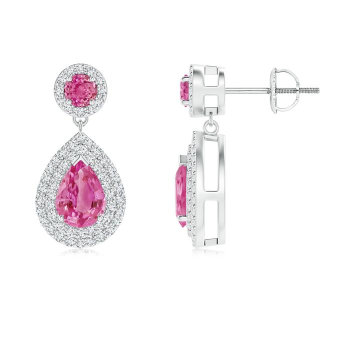 Dangling Double Halo Pear Pink Sapphire Drop Earrings - Angara.com