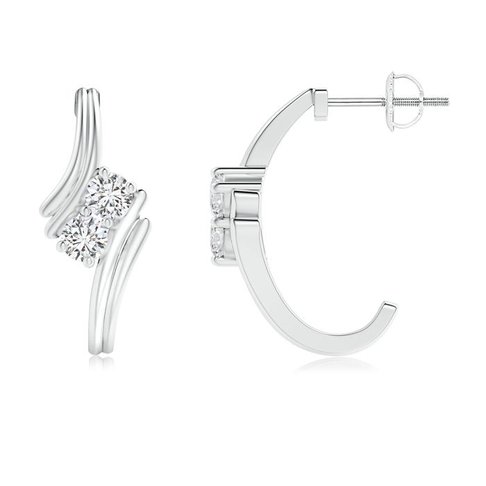 Bypass Two Stone Diamond Hoop Earrings - Angara.com