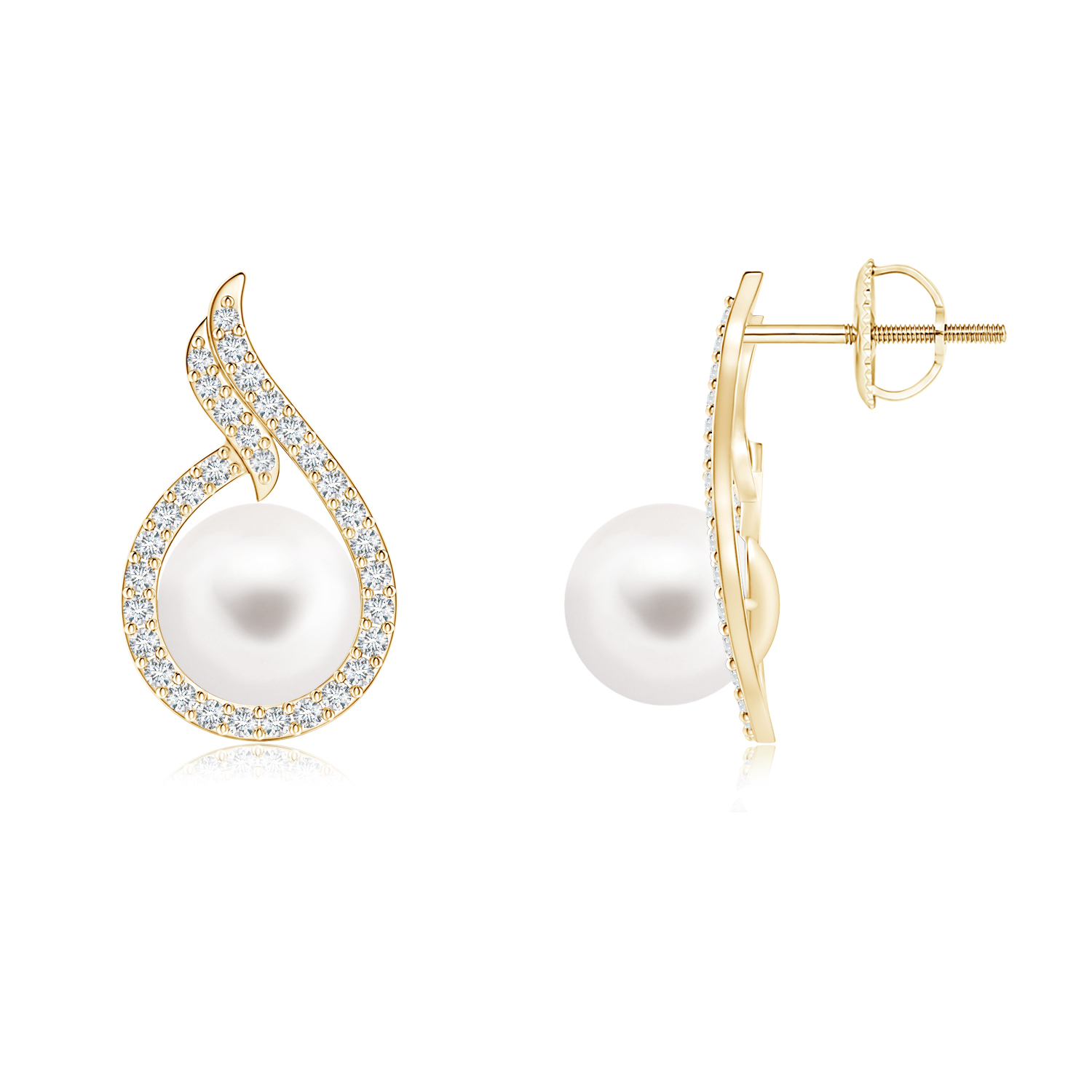 Ball Shaped FreshWater Cultured Pearl Earrings with Diamond Swirl Frame - Angara.com