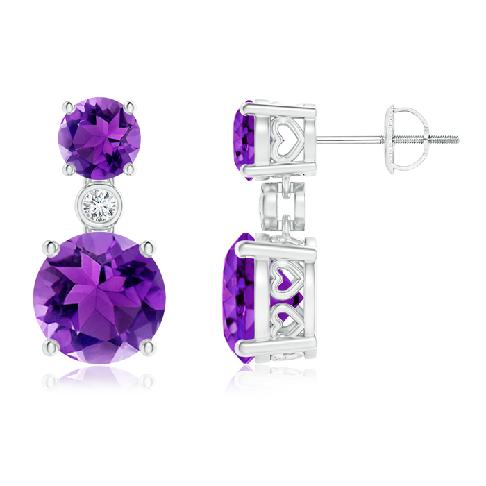 Classic Amethyst Two Stone Drop Earrings with Bezel-Set Diamond - Angara.com