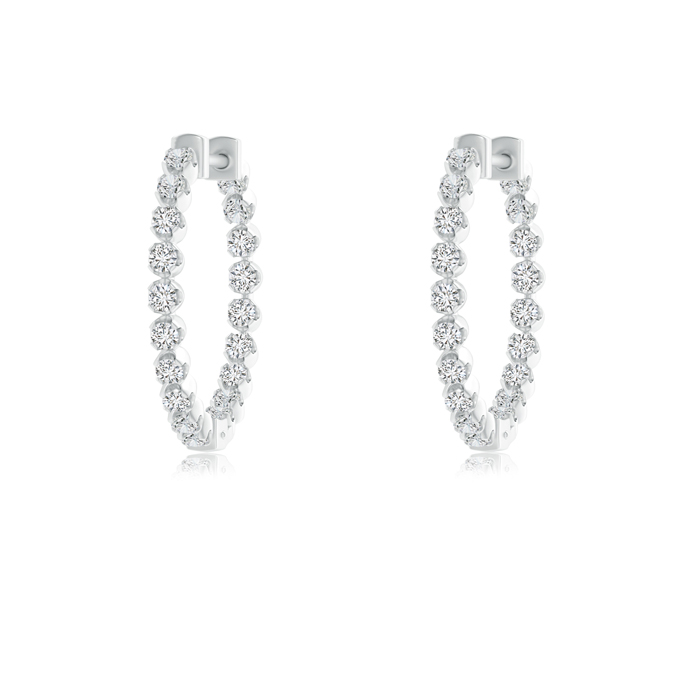 Floating Diamond Inside Out Hoop Earrings - Angara.com
