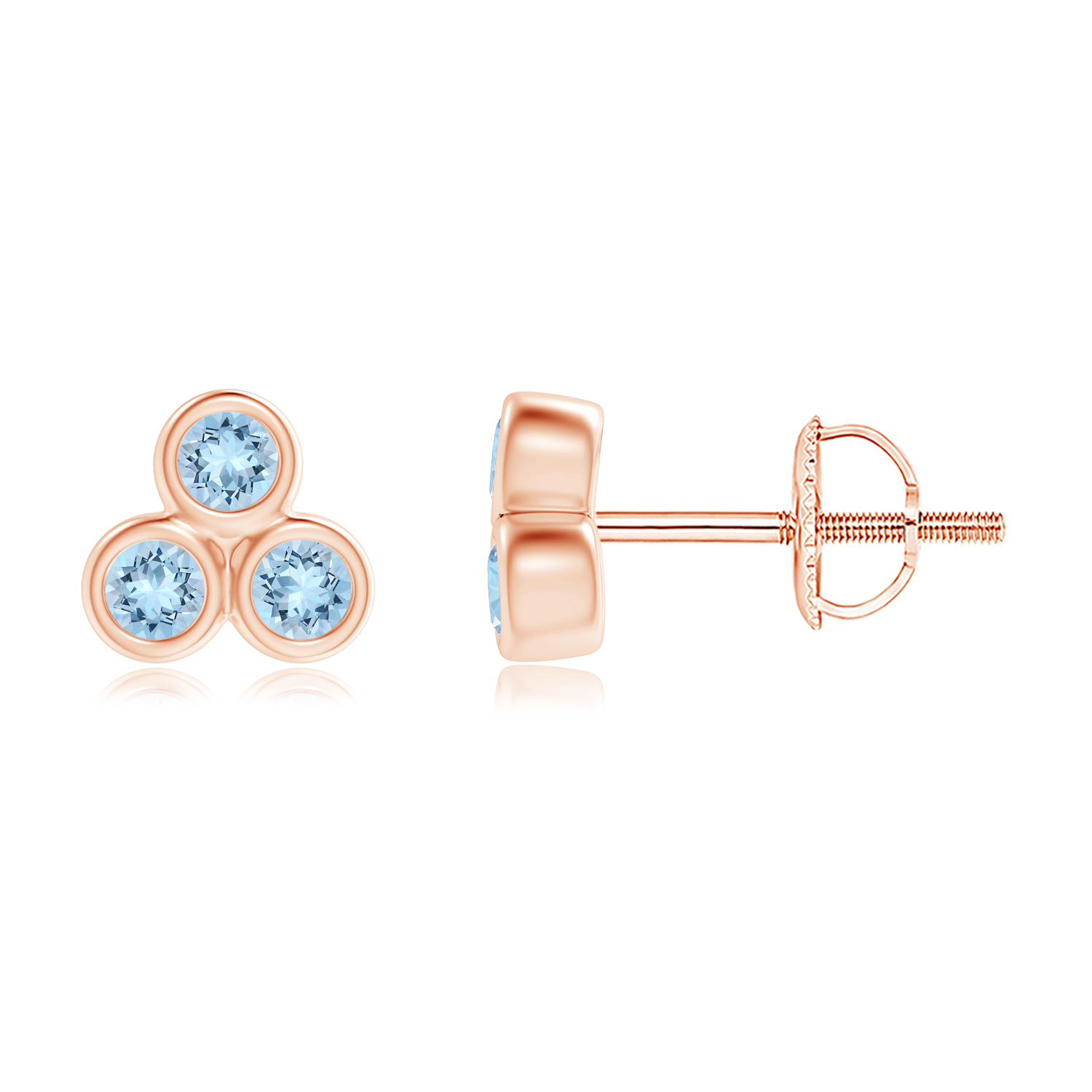 Bezel Set Aquamarine Trio Cluster Stud Earrings - Angara.com
