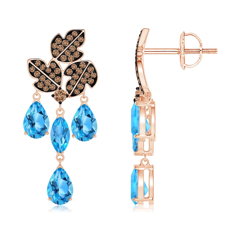 Pear and Marquise Swiss Blue Topaz Grapevine Earrings - Angara.com