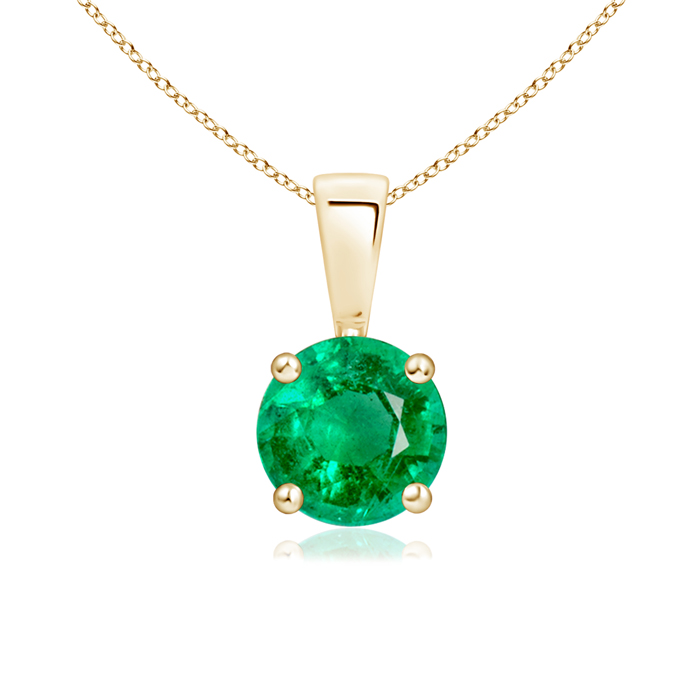 Prong Set Round Emerald Solitaire Pendant - Angara.com