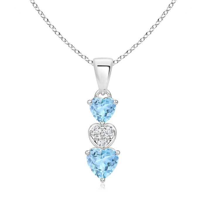 Dangling Aquamarine and Diamond Triple Heart Pendant - Angara.com