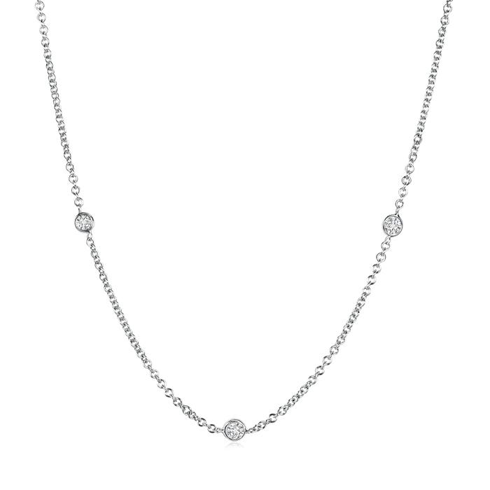 Bezel Set Round Diamond By Yard Chain Necklace - Angara.com