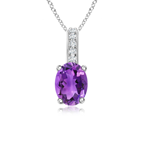 Solitaire Oval Amethyst Pendant with Diamond Bail - Angara.com