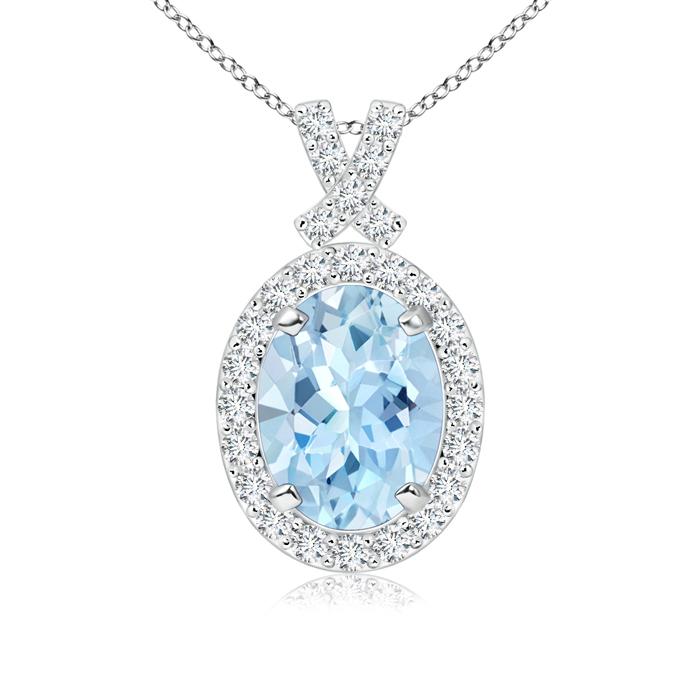 Vintage Inspired Diamond Halo Oval Aquamarine Pendant - Angara.com