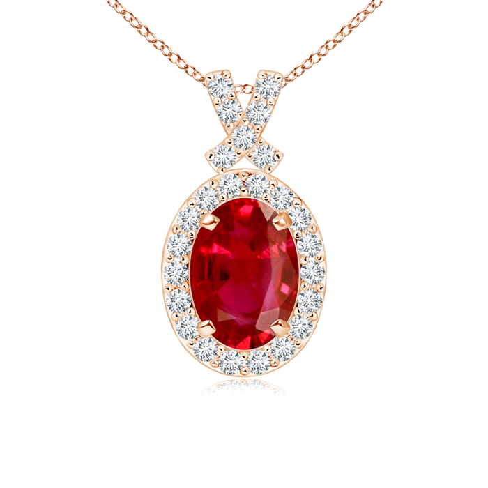 Vintage Inspired Diamond Halo Oval Ruby Pendant - Angara.com
