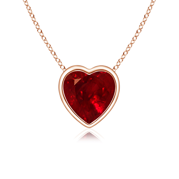 Bezel Set Solitaire Heart Shaped Ruby Pendant - Angara.com