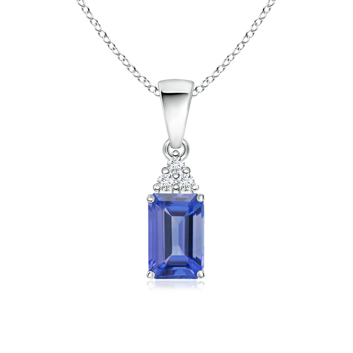 Prong Set Emerald Cut Tanzanite Pendant with Diamond - Angara.com