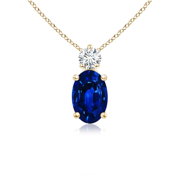 Prong Set Oval Sapphire Solitaire Pendant with Diamond - Angara.com