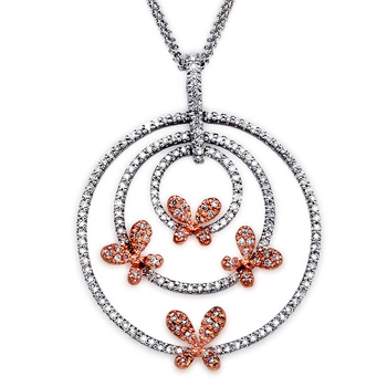 Scattered Butterfly Diamond Concentric Circle Pendant - Angara.com