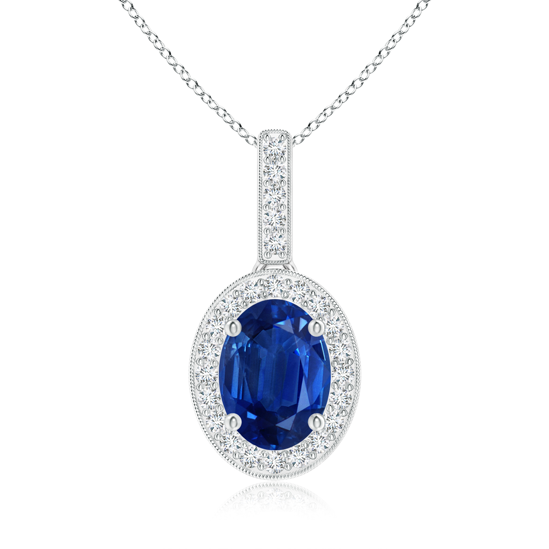 Vintage Oval Sapphire Pendant Necklace with Diamond Halo