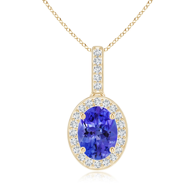 Vintage Oval Tanzanite Pendant Necklace with Diamond Halo - Angara.com